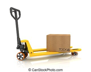 isolé, palette, boîtes, camion, blanc, carton