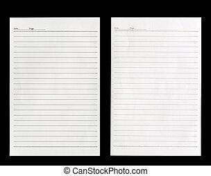 isolé, papier, arrière-plan noir, blanc, revêtu