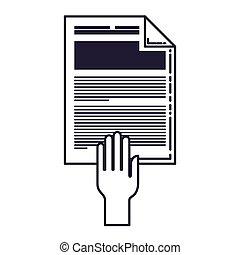 isolé, papier, document, icône
