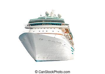 isolé, paquebot, fond, bateau croisière, océan, blanc