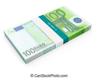 isolé, paquet, billets banque, 100, factures, euro