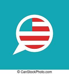 isolé, parole, américain, bavarder, arrière-plan., bleu, drapeau, bulle