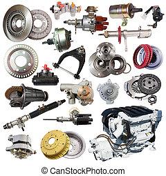 isolé, parts., ensemble, épargner, moteur, blanc