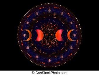 isolé, phases, soleil, année, roue, déesse, lune, païen, géométrie, arrière-plan noir, wiccan, système, planètes, coloré, circle., énergie, symbole, transparent, triple, vecteur, orbites, lune, sacré
