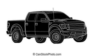 isolé, pick-up, vecteur, camion, gabarit, blanc