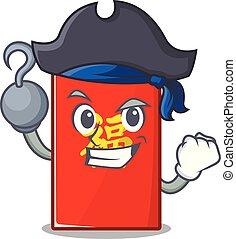 isolé, pirate, enveloppe, dessin animé, rouges