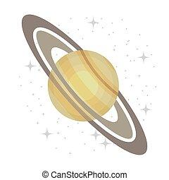 isolé, planète, manière, laiteux, icon., galaxie