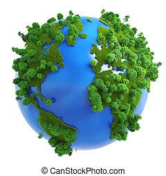 isolé, planète verte, concept