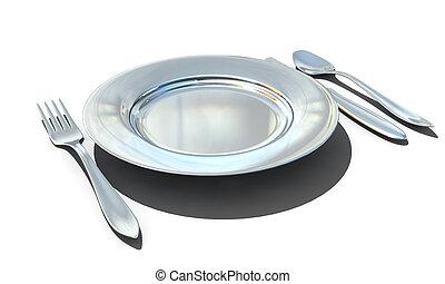 isolé, -, plaque, fourchette, cuillère, couteau