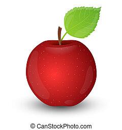 isolé, pomme, arrière-plan., blanc rouge