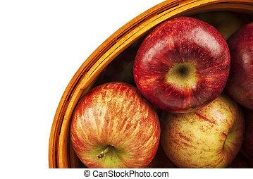 isolé, pommes, directement, above., panier, fond, blanc