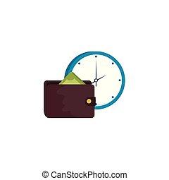 isolé, portefeuille, icône, horloge