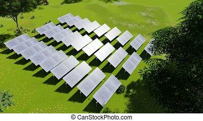 isolé, power., grass., concept., avenir, solaire, ...