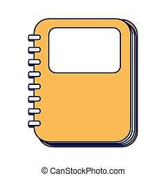 isolé, provision école, icône, cahier