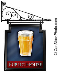 isolé, pub, signe