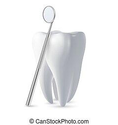 isolé, réaliste, miroir, clipart., arrière-plan., santé, 3d, dent, dents, closeup, vecteur, gabarit, inspection, blanc, concept médical, conception, dentiste, dentaire, icône, tool.