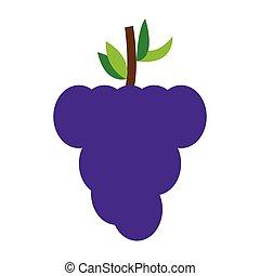 isolé, raisins, icône