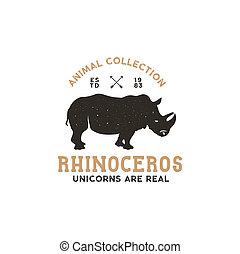 isolé, rhinocéros, animal, sauvage, logo, template., stockage