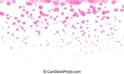 isolé, rose, amour, million, cœurs, tomber, fond