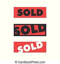 isolé, rouges, vendu, autocollant, carrée, blanc, signe