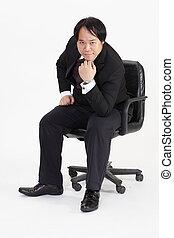 isolé, séance, chaise, homme affaires