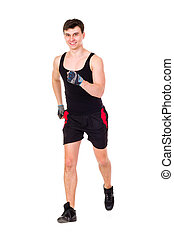 isolé, séduisant, fitness, blanc, vêtements de sport, homme