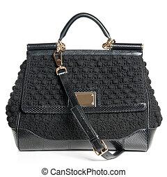 isolé, sac, noir, luxe, femme, blanc