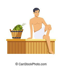 isolé, sauna, vector., spa, procédures, femmes
