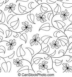 isolé, seamless, oriental, fond, floral, noir