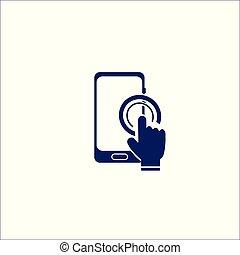 isolé, signe, téléphone, déclic, symbole., icône