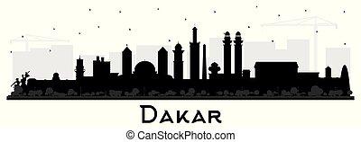 isolé, silhouette, sénégal, ville, noir, white., horizon, dakar, bâtiments