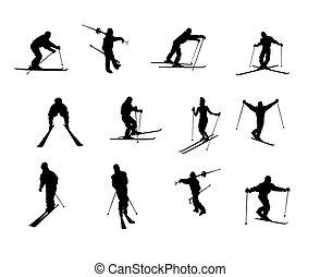isolé, ski, silhouettes
