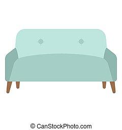 isolé, sofa, bleu
