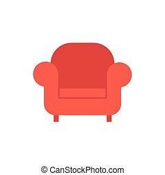 isolé, sofa, icône, livingroom, meubles