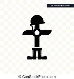 isolé, soldat, vecteur, conception, logo, baissé, transparent, fond, icône