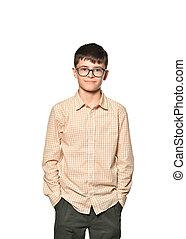 isolé, sourire, blanc, lunettes, garçon, confiant, adolescent, fond