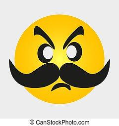 isolé, sourire, jaune, moustache, movember, arrière-plan., signe., icône, blanc