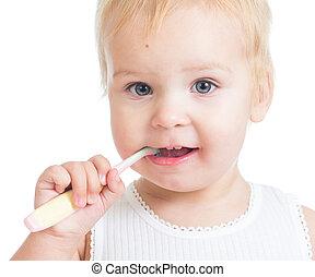 isolé, sourire, nettoyage, fond, dents, bébé, blanc