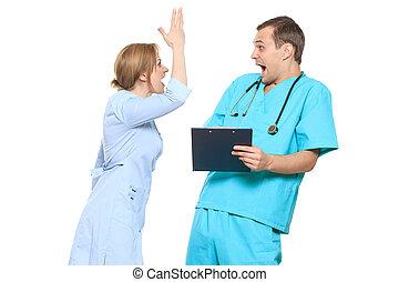 isolé, sur, white., docteur, swears, nurse., il, cris, et,...