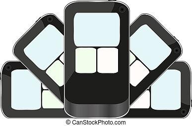 isolé, téléphone, arrière-plan noir, blanc, intelligent