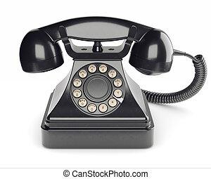 isolé, téléphone, noir, retro, fond, blanc, 3d