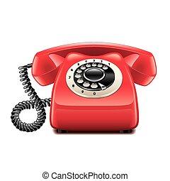 isolé, téléphone, vecteur, retro, blanc rouge