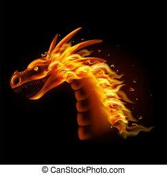 isolé, tête, fond, dragon, noir, brûler