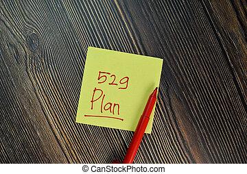 isolé, table., financier, écrire, note, collant, bois, 529, plan, concept
