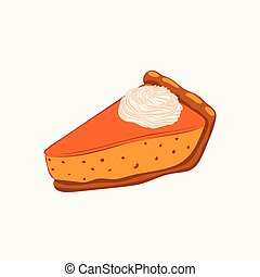 isolé, tarte, blanc, crème, fouetté, citrouille