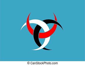 isolé, tatouage, sacré, icon., tribal, emblème, imbriqué, colors., religion, bleu, poitiers, trois, odin, symbole, croissants, lune, divination, diane, celtique, de, fleur, signe, wiccan, symbolique
