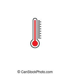 isolé, temperature., white., thermomètre, élevé, extrêmement
