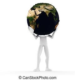 isolé, tenue, blanc, 3d, la terre, homme