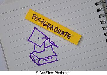 isolé, texte, postgraduate, desk., notes, collant, bureau