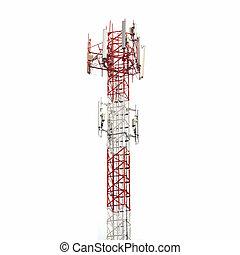 isolé, tour, blanc, télécommunication